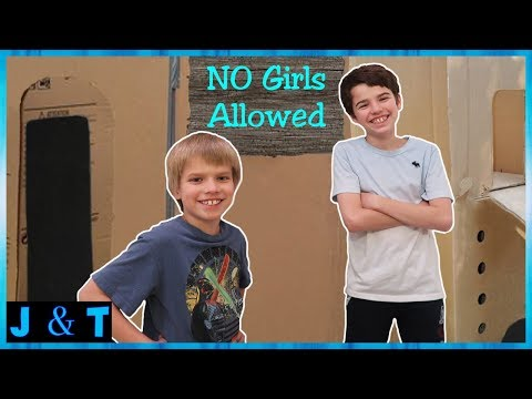 No Girls Allowed Boys Only Two Story Box Fort Jake and Ty