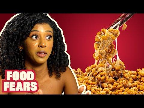 Natto SLIMY BEANS Taste Test with Jennelle Eliana FOOD FEARS