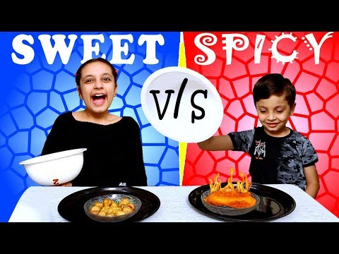 SPICY vs SWEET challenge #Funny #Kids   Tasty snacks for kids   Aayu and Pihu Show