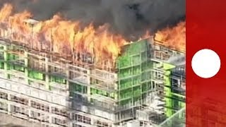 Catastrophic damage: out-of-control fire erupts in San Francisco nine storey building