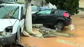 Flash floods on outskirts of Athens, Greece - November 15, 2017
