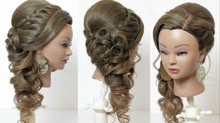 Indian bridal hairstyle for long hair, tutorial with braids and curls