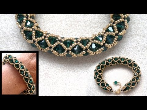 Beading4perfectionists Netted bracelet with 6mm Swarovski and seedbeads beading tutorial