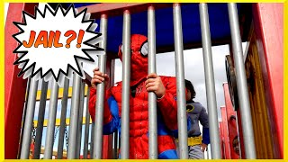 Superheroes Battle BATMAN VS SPIDERMAN Goes to Jail EGG SURPRISE Playground Family Fun Playtime Park