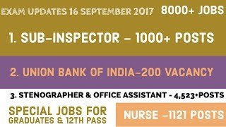 Exam News#14 :- special Jobs-Bank SO , Sub-inspector job , Stenographer ,Office Assistant  and  more