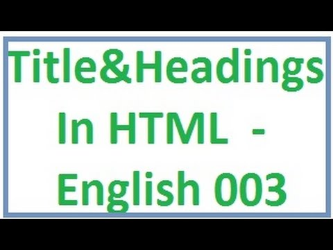 Title and Headings in Html -- English-vlr training