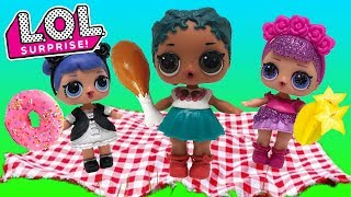 LOL Surprise Dolls Picnic with Sugar Queen, MC Swag, Midnight, Beats & Coconut QT & Learn Colors!