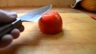 Homemade chef's knife vs tomato