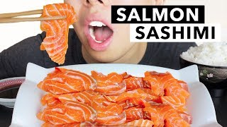 ASMR SALMON SASHIMI   Fresh Raw Fish ft. Rice & Wasabi   Relaxing Eating Sounds + Whispering