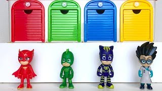 Pj Masks Tayo Garage Toys, Learn Colors with Balls Beads Pj Masks Dropping - Pj Masks Wrong Heads