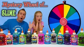 3 COLORS OF GLUE MYSTERY WHEEL OF SLIME CHALLENGE!!! All New Colors!