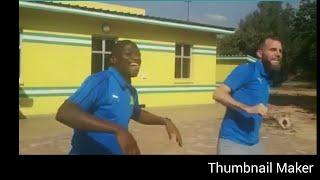 Sundowns players dancing behind the scenes