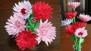 Easy way  To Make Paper Flower Chrysanthemum -  DIY Handmade Craft