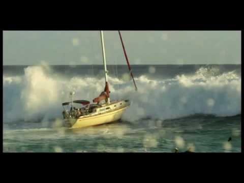 Point Panic Big Wave hits sailboat at Ala Moana Bowls in Waikiki