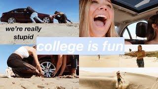 sorority girls get car stuck in sand lol