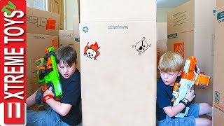 Ethan Vs. Cole Nerf Battle Royale in a Box Maze Fort!