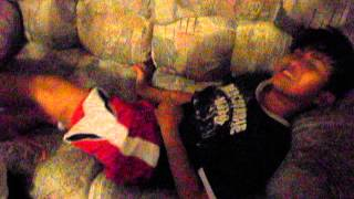 sister puts water to brother while sleeping