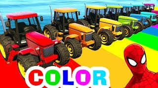 Tractor COLOR CARS for Kids in Spiderman Cartoon Funny Videos for Children with Nursery Rhymes Songs