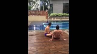 Mga mag aagaw nahulog sa pool