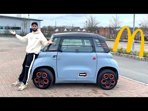 WORLDS SMALLEST ELECTRIC CAR DRIVE THRU CITROEN AMI