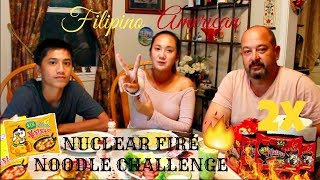 EXTREME 2X SPICY NUCLEAR FIRE NOODLE CHALLENGE|FILIPINO-AMERICAN