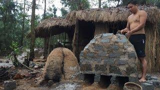 Primitive Technology:Furnace from Brick-Primitive life-wilderness!