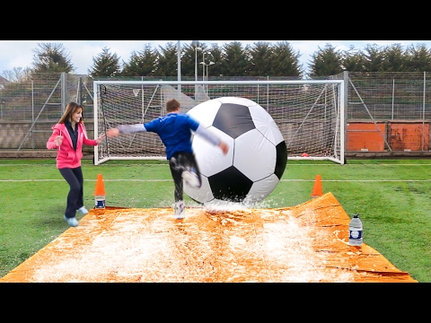 GIANT FOOTBALL SLIP N SLIDE vs MY MUM