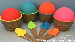 Play Doh Ice Cream Surprise Eggs SpongeBob Barbie Peppa Pig Star Wars