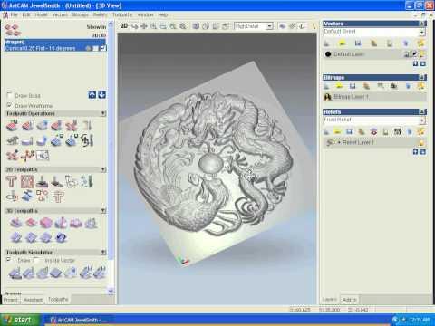 Art CAM training 3D Dragon