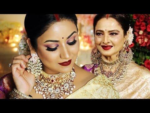 Xxx Mp4 REKHA Actress INSPIRED LOOK Indian Wedding Guest Makeup Tutorial 3gp Sex