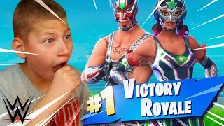 JAYDEN REACTS TO *NEW* WWE WRESTLERS THEME SKINS! *INSANE* FORTNITE BATTLE ROYALE 9 YEAR OLD KID!