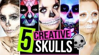 5 ARTEN VON EINFACHEN TOTENKOPF / SKULL MAKE UPS - Halloween Makeup Tutorial #SPOOKTOBER