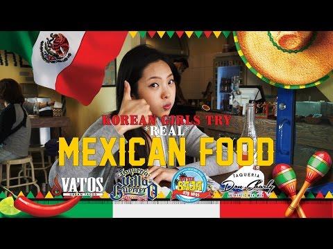 Korean Girls Try REAL Mexican Food [Lengua, Tripas, Menudo, Tamales, etc]