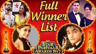 Star Parivaar Awards 2017 Winners List | DIVYANKA | MOHSIN | SURBHI | SHIVANGI | TellyMasala