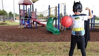 Batman Batarang Training At The Park Kids Having Fun Eating Ice Cream And KFC Ckn Toys