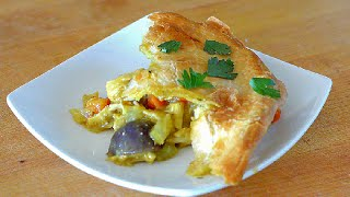 Curry chicken pot pie with a puff pastry crust