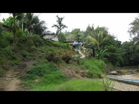 Iban headhunter village on Borneo