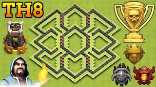 CLASH OF CLANS | NEW BEST TH8 TROPHY BASE WITH BOMB TOWER | TOWN HALL 8 TROPHY BASE!