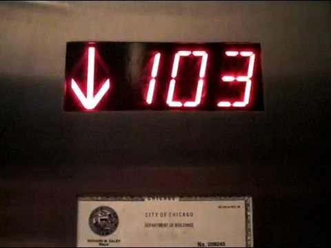 Going down on the Schindler High Speed Elevators at the Sears Willis Tower Skydeck in Chicago