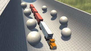 Beamng drive -  Twin Side giant Rolling concrete Balls