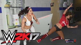 WWE 2K17 Nikki Bella Vs Brie Bella (Falls Count Anywere)