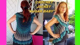 CROCHET MANDALA BOLERO VEST SUGAR BABY any size tutorial easy and quick Alex Crochet
