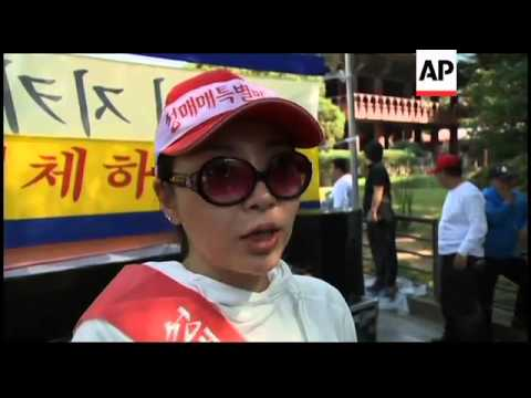 Sex workers protest against clearing of red light district in Seoul