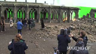On set for the final chapter of 'Harry Potter and the Deathly Hallows: Part 2'