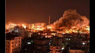 Israel bombing Gaza at night