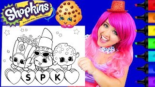 Coloring Shopkins Lippy Lips, Kooky Cookie GIANT Coloring Page Prismacolor Markers | KiMMi THE CLOWN