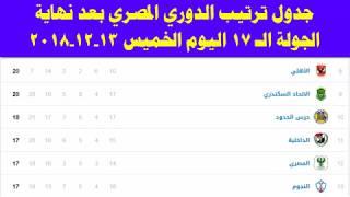 جدول ترتيب الدوري المصري بعد نهاية الجولة 17 بالدوري اليوم الخميس 13-12-2018