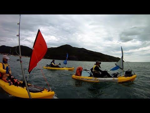 Acampamento nas Ilhas das Três Irmãs em Floripa com caiaque barracuda