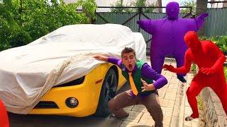 Purple Fat Man & Red Man on Chevy Camaro VS Mr. Joe on BROKEN Corvette w/ Motorcycle for Kids