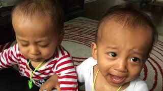 Twins fighting for toy